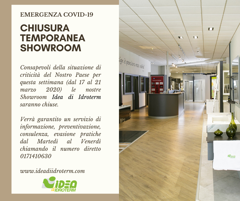 CHIUSURA TEMPORANEA SHOWROOM